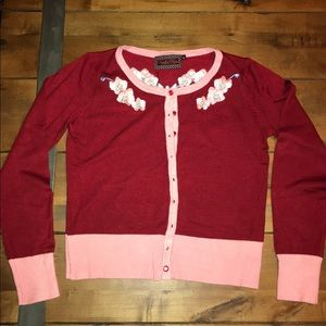 Burgundy Cardigan w/ Front/Back Floral Embroidery